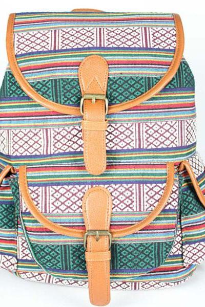 Leiseure Stripe Folk Geometry Backpack