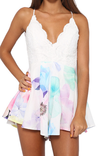 Sling white lace stitching printing piece pants #AD71705
