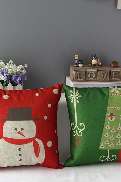High Quality 2 pcs a set Snowman Christmas Tree Cotton Linen Home Accesorries soft Comfortable Pillow Cover Cushion Cover 45cmx45cm