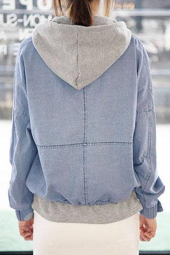 Detachable Hooded Casual Jacket Denim, Two Pieces