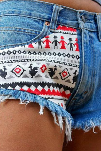 Rivet Sexy Denim Shorts Denim Shorts