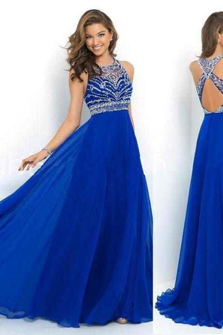 2015 New Prom Dresses A Formal Party Dress CHIC A-LINE/PRINCESS SWEETHEART FLOOR LENGTH CHIFFON BLUE PROM DRESS WITH BEADING