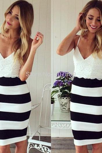 Sexy Women Black White Sleeveless Lace Slim Mini Dress Cocktail Club Party