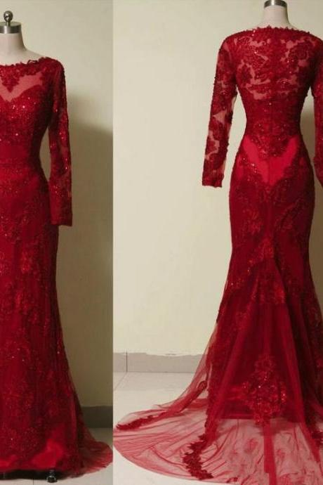 Red Lace Long-Sleeved Mermaid Long Prom Dress, Evening Dress