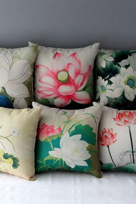 High Quality 6 pcs a set Lotus Printed Cotton Linen Home Accesorries soft Comfortable Pillow Cover Cushion Cover 45cmx45cm