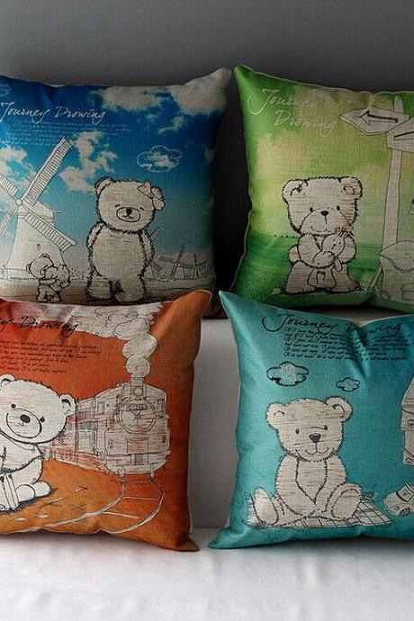 High Quality 4 pcs a set bear Cotton Linen Home Accesorries soft Comfortable Pillow Cover Cushion Cover 45cmx45cm