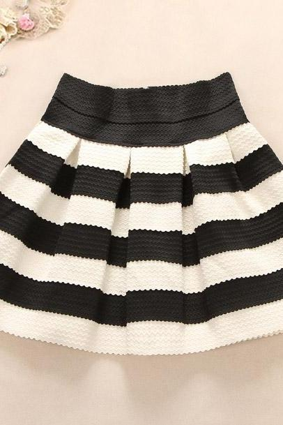 Black And White Striped Waist Tutu Skirt