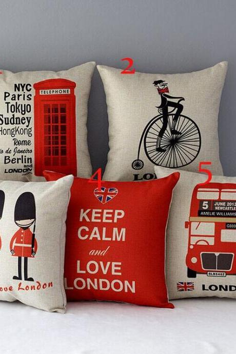 High Quality 5 pcs a set London Printed Cotton Linen Home Accesorries soft Comfortable Pillow Cover Cushion Cover 45cmx45cm