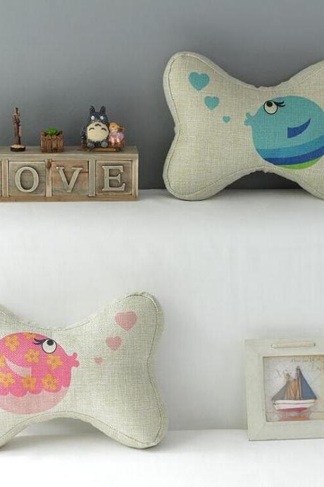 High Quality 2 pcs a set Bubble Fish headrests Cotton Linen Home Accesorries soft Comfortable Pillow Cover Cushion Cover 45cmx45cm
