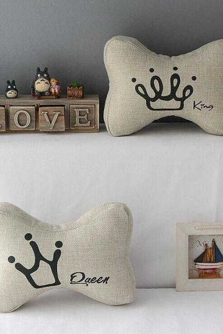High Quality 2 pcs a set Imperial crown headrests Cotton Linen Home Accesorries soft Comfortable Pillow Cover Cushion Cover 45cmx45cm