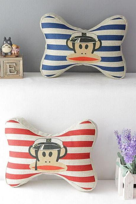 High Quality 2 pcs a set Paul Frank Stripe headrests Cotton Linen Home Accesorries soft Comfortable Pillow Cover Cushion Cover 45cmx45cm