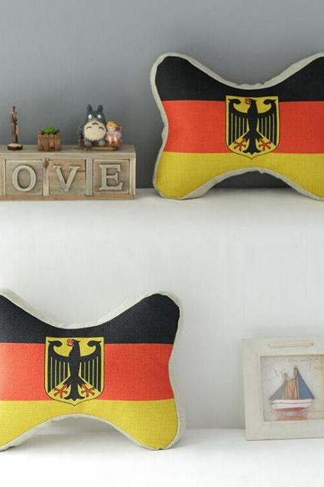 High Quality 2 pcs a set German flag headrests Cotton Linen Home Accesorries soft Comfortable Pillow Cover Cushion Cover 45cmx45cm