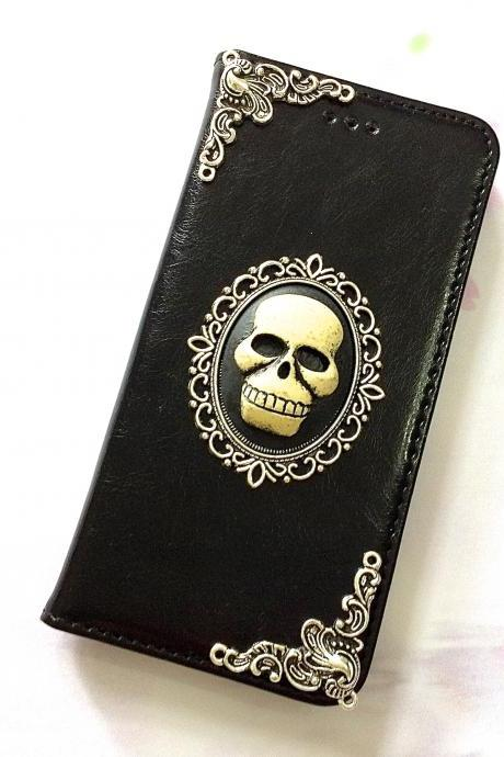 Skull iphone 6 6s 4.7 leather wallet case, Vintage iphone 6 6s plus leather wallet case, iphone SE, 5c, 5, 5s leather wallet case, real leather wallet case, item no.168
