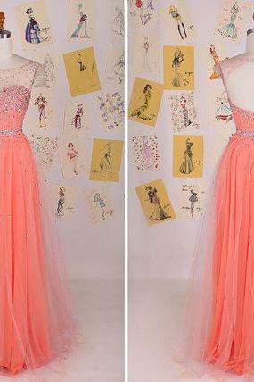 Sweet Coral Cap Sleeve Beading Long Prom DressTulle Prom DressSweet 16 Long Prom DressParty DressOpen Back Prom Dress DAF0057