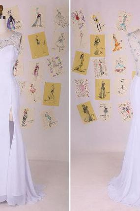 White Beading Split Front See Through Back Mermaid Prom Dress/White Mermaid Evening Dress/Party Dress/White Prom Dress DAF0091