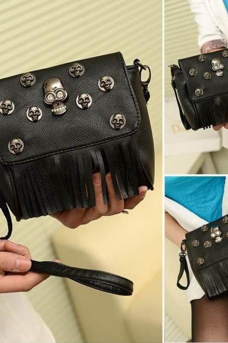 Women Crossbody Shoulder Bag Tote Purse Skull Rivet Punk Tassels Handbag PU New