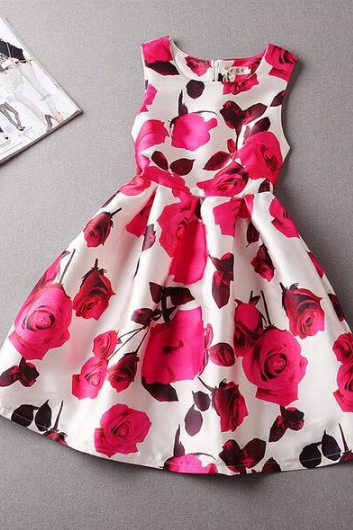 Lovely round neck sleeveless printed mini dress SF71905JL