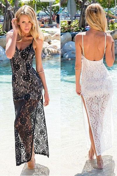 Backless Brace Slit Lace Dress