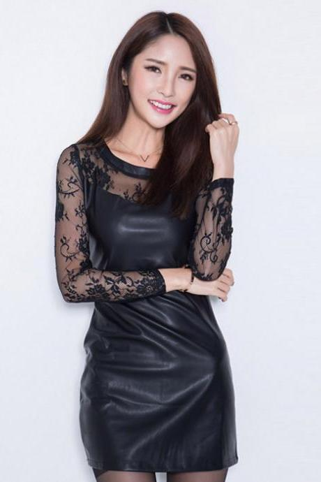 2015 Women's Sexy Bodycon/Casual/Cute/Party/Work/Plus Sizes Micro-elastic Long Sleeve Mesh/PU Mini Dress