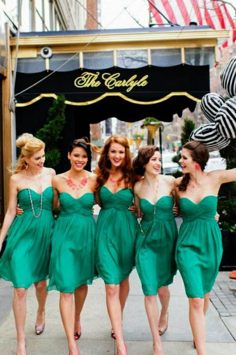 Green Chiffon Short Bridesmaid Dress, Cheap Bridesmaid Dresses, Bridesmaid Dresses 2016, Junior Bridesmaid Dress, Dresses For Weddings, Short Dress