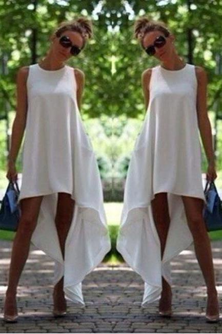 Female Fashion Irregular Sleeveless Summer Dress