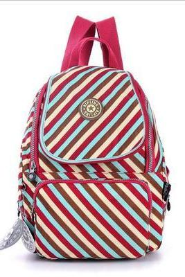 Waterproof Nylon Shoulder Bag Travel Backpack Handbags - Stripes