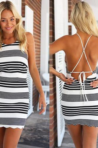Bandage Slim Backless Stripes Summer Party Dresses