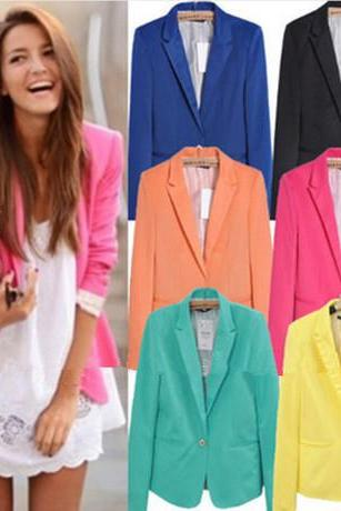 Female Autumn Candy Color One Button Suit Jacket Coat