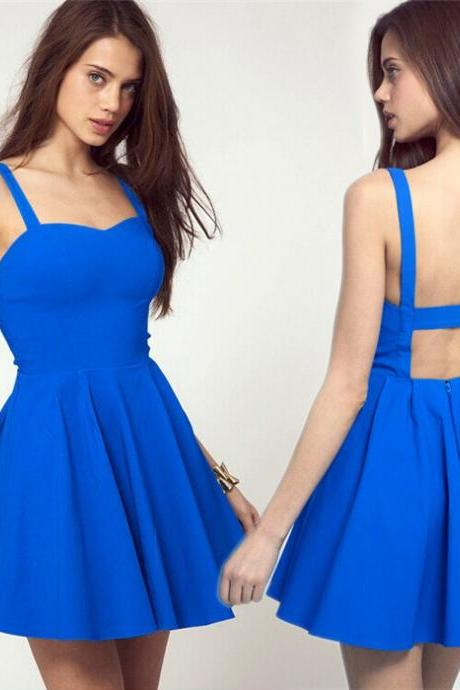 Skater Dress Featuring Semi Sweetheart Neckline and Open Back