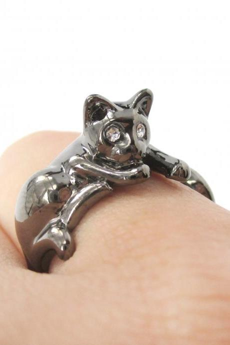 Lazy Kitty Cat Animal Pet Wrap Around Hug Ring in Dark Silver Sizes 4 to 9