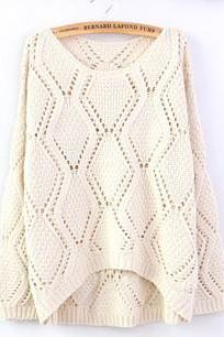 Beige Large Rhombic Hollow Sweet Sweater DS71910