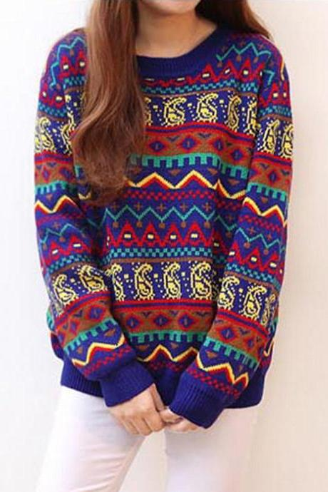 Colorful Geometric Pattern Pullover Sweater DS71911