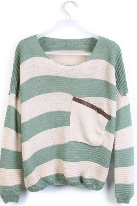 Green Stripe Bat Long Sleeve Sweater