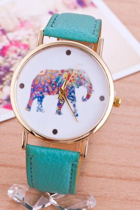 Elephant Colorful Face Pu Leather Green Band Unisex Watch