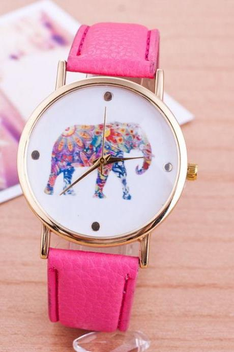 Elephant Colorful Face Pu Leather Purple Band Unisex Watch