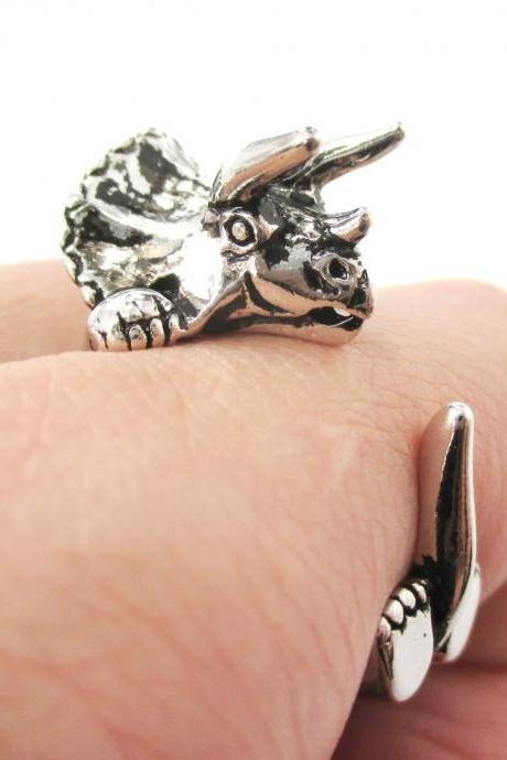 Large Triceratops Dinosaur Animal Wrap Around Hug Ring in Shiny Silver | Sizes 4 - 8.5