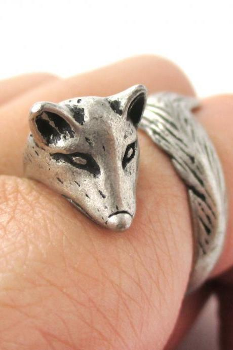 Fox Animal Ring Wrapped Around Your Finger in Silver | Sizes 5 - 9