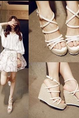 Sweet wedges straw sandals