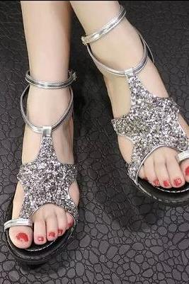 Five-pointed star diamond Roman sandals