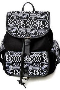 Aztec Pattern Black Backpack