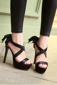 Strappy Black High Heel Fashion Sandals With Bow