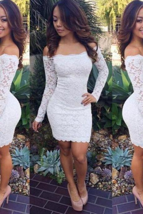CUTE ONE WORD LACE LONG SLEEVE DRESS