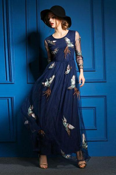 Unique Phoenix Embroidered Long Dress