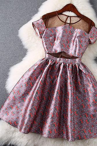 Nice Cherry Printing Gauze Slim Dress