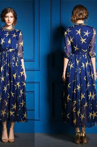 Gold Starfish Printing Long Dress