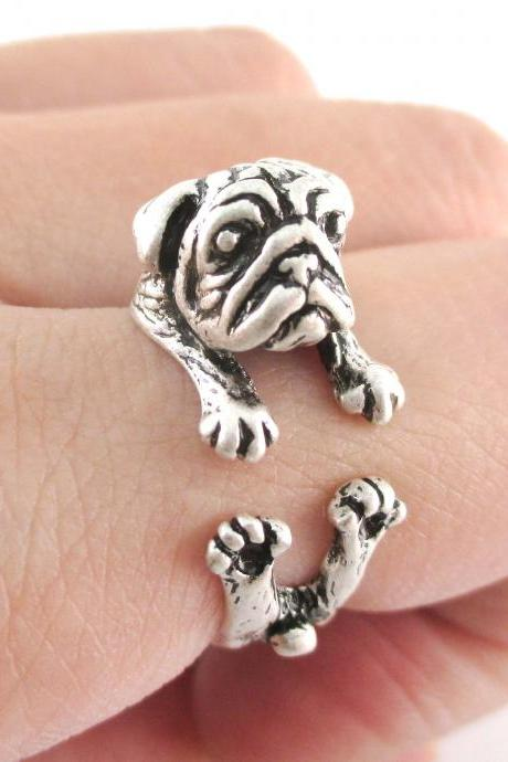 Pug Animal Ring Wrapped Around Your Finger in Silver | Sizes 6 to 9