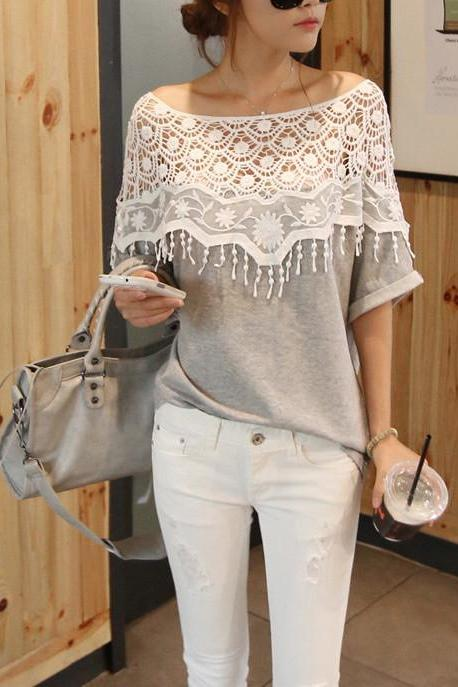 LACE HOLLOW OUT BAT SLEEVE T-SHIRT