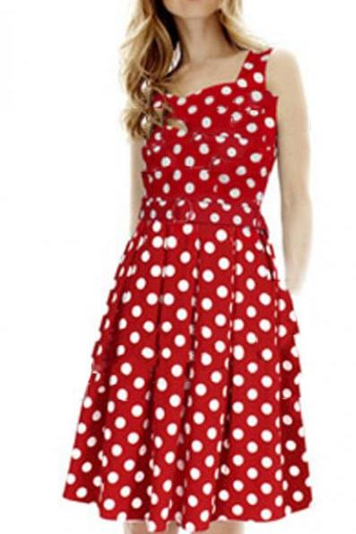 Sleeveless Polka Dot Knee Length Dress