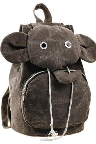 Brown Cute Elephant Canvas Backpack