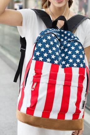 Stars and Stripes Canvas Backpack
